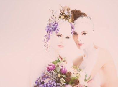 Two girls and flowers